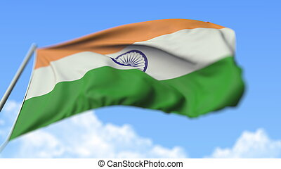 Flying national flag of India, low angle view. 3D rendering