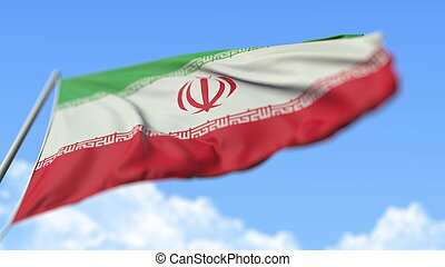 Flying national flag of Iran, low angle view. 3D rendering