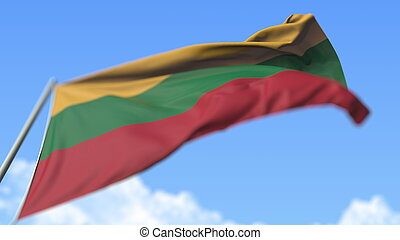 Flying national flag of Lithuania, low angle view. 3D rendering