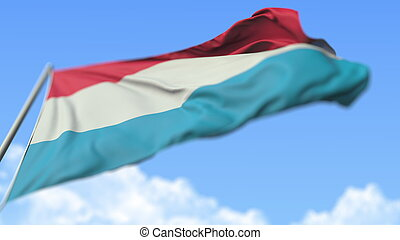 Flying national flag of Luxembourg, low angle view. 3D ...