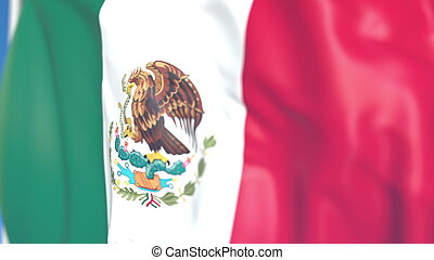 Flying national flag of Mexico close-up, 3D rendering