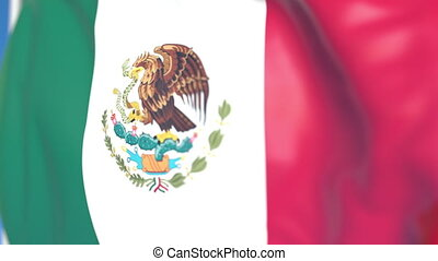 Flying national flag of Mexico close-up, loopable 3D animation