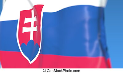 Flying national flag of Slovakia close-up, 3D rendering