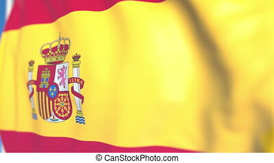 Flying national flag of Spain close-up, loopable 3D animation