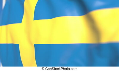 Flying national flag of Sweden close-up, loopable 3D animation