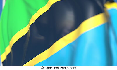 Flying national flag of Tanzania close-up, 3D rendering