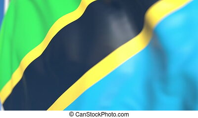 Flying national flag of Tanzania close-up, loopable 3D...