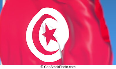Flying national flag of Tunisia close-up, 3D rendering