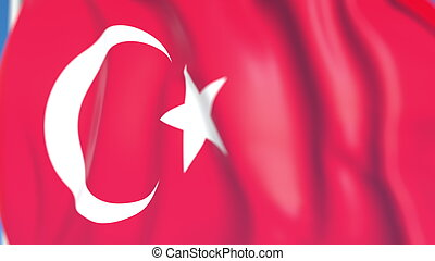 Flying national flag of Turkey close-up, 3D rendering