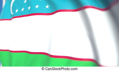 Flying national flag of Uzbekistan close-up, 3D rendering