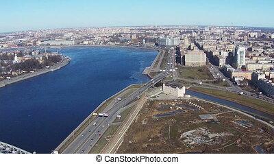 Flying near of River Neva in Center Saint-Petersburg