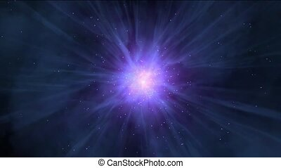 flying nebula & rays laser in space