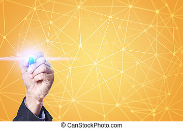 Flying network sphere 3D background. Business technology and...