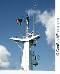 Flying North & South - US Flag and seagull flying above...