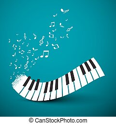 Flying Notes with Abstract Piano Keyboard. Music Vector Background.