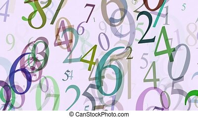 Flying numbers in different colors on white