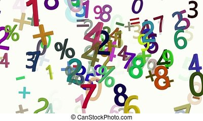 Flying numbers in various colors