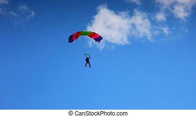 Flying on a parachute and alight on ground