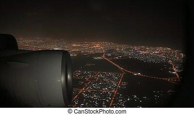Flying on a plane at night, jet engines - Night flight, ...