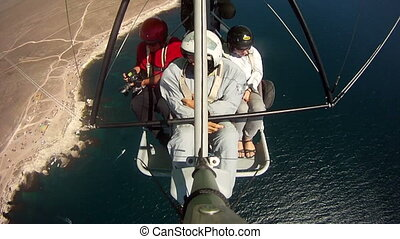 Flying on motorized hang glider - Flying over Black sea...