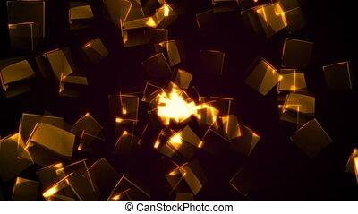 Flying orange rectangular cubes. Seamless loop