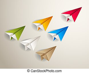 Flying origami plane leading the team group of smaller planes, business leadership concept, vector modern style 3d illustration.