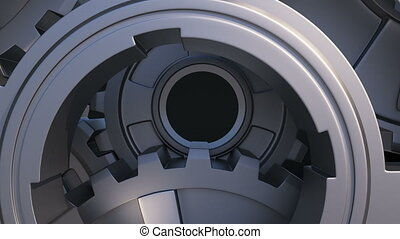 Flying Out From the Metal Gears Mechanism. Zoom out 3d Animation on White and Black Background with Green Screen. Abstract Working Process. Teamwork Business and Technology Concept. 4k UHD 3840x2160.