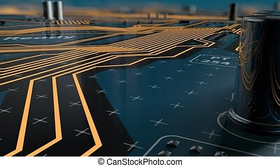 Flying over a futuristic circuit board with CPU