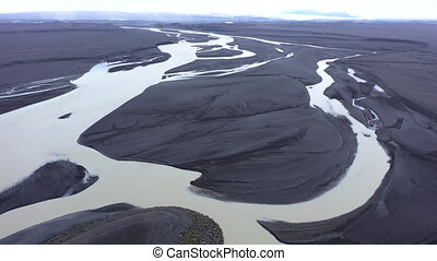 Flying Over a Large Icelandic Glacial River System, Delta in...