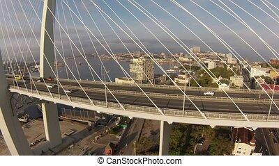 Flying over a long bridge