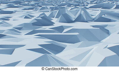 Flying over Abstract Low-Poly Surface. Looped 3d Animation. Seamless Background Concept