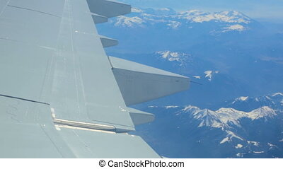 Flying over Apennine mountains, Italy