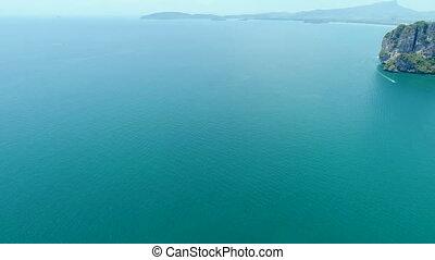 Flying over beautiful sea