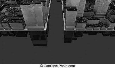 Flying over black city