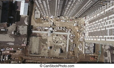 Flying over construction site and new-built house in Moscow...