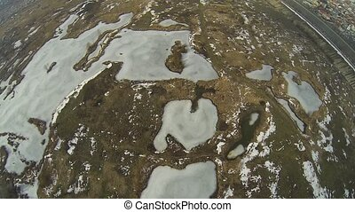 Flying Over Frozen Vacaresti Delta - Aerial view of the ...