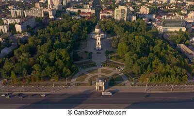 Cathedral Park in Chisinau, Moldova - Flying over ...