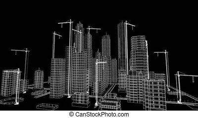 Flying Over Growing City. Beautiful 3d Blueprint of Contemporary Buildings with Cranes. White on Black 3d animation. Construction Business and Technology Concept. 4k Ultra HD