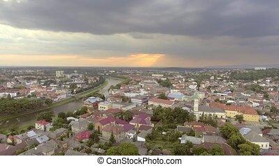 Flying over Holy Cross Greek Catholic Cathedral in Uzhhorod,...