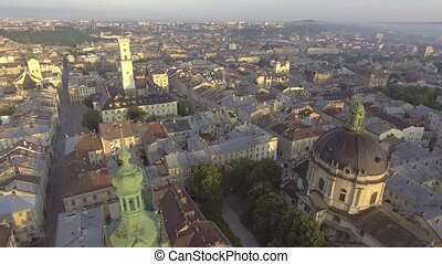Flying over Lviv City, Ukraine. Panorama of the ancient city.
