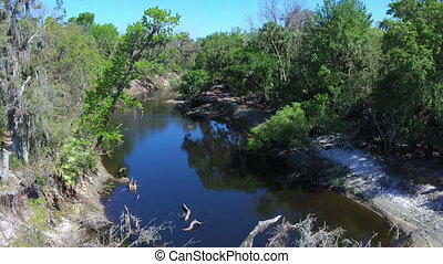 Flying over mid Florida river at tree top height - River in...