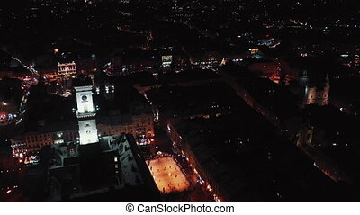 Flying over Night Old City Lviv, Ukraine