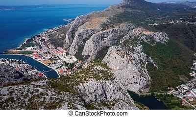 Flying over Omis town, Dalmatian Coast, Croatia - Aerial...