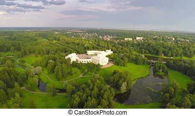 Flying over park and palace in Pavlovsk
