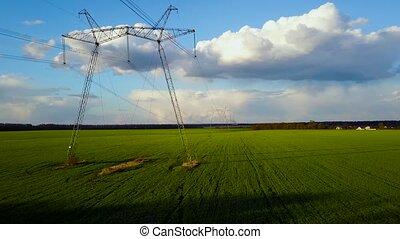 Flying over power line at sunset - Aerial syrvey - flying...
