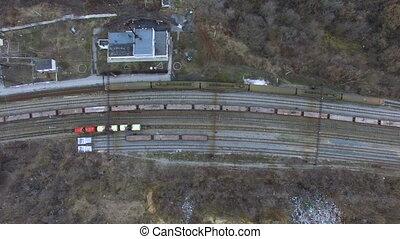 Flying over railway tracks
