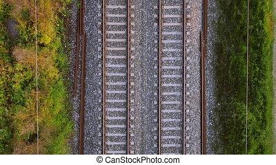 Flying over railway tracks, top view. - Flying over railway ...