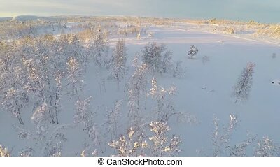 Flying over snow covered plains in the mountains - Camera...