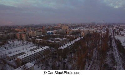 Flying over St. Petersburg on dull winter morning, Russia