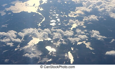 Flying over taiga lake district. Finland, Karelia, Lapland -...